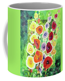 Coffee Mug featuring the painting Framed In Hollyhocks by Kathy Braud