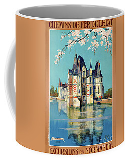 Coffee Mug featuring the mixed media France Normandy Restored Vintage Travel Poster by Carsten Reisinger