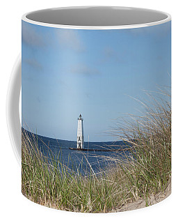 Coffee Mug featuring the photograph Frankfort North Breakwater Lighthouse by Fran Riley