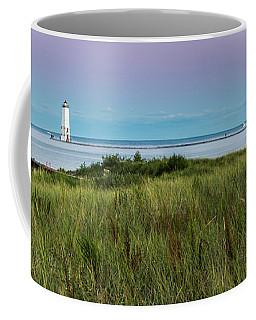 Frankfort North Breakwater Panorama From Elberta  Coffee Mug