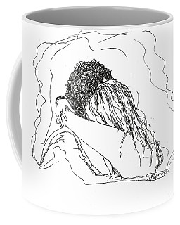 Coffee Mug featuring the drawing Free Hugs Bw by Denise Fulmer