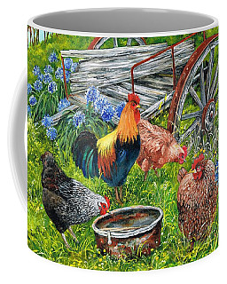 Coffee Mug featuring the painting Free Rangers by Val Stokes