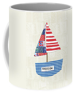 Freedom Boat- Art By Linda Woods Coffee Mug