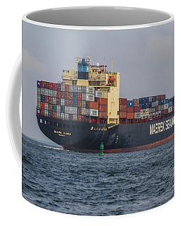 Freighter Headed Out To Sea Coffee Mug
