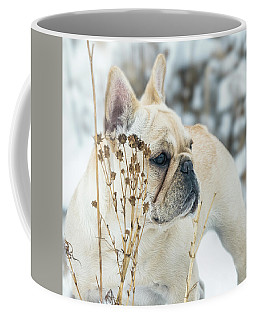 French Bulldog In The Snow Coffee Mug