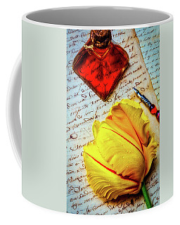 French Tulip On Old Letters Coffee Mug