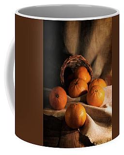 Fresh Tangerines In Brown Basket Coffee Mug by Jaroslaw Blaminsky