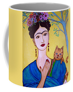 Coffee Mug featuring the painting Frida And Her Cat by Pristine Cartera Turkus