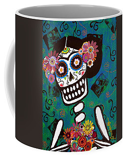 Coffee Mug featuring the painting Frida Dia De Los Muertos by Pristine Cartera Turkus