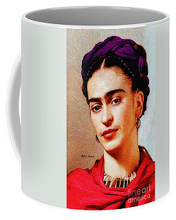Coffee Mug featuring the painting Frida In Red by Rafael Salazar