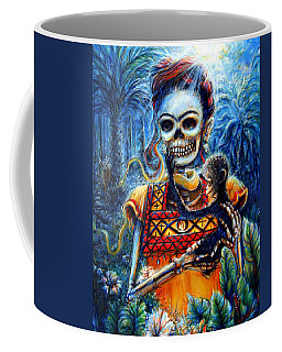 Coffee Mug featuring the painting Frida In The Moonlight Garden by Heather Calderon