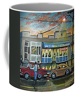 Coffee Mug featuring the painting Friday Night At Sal's by Rita Brown