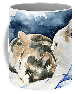 Coffee Mug featuring the painting Friends Forever - Cat Painting by Dora Hathazi Mendes