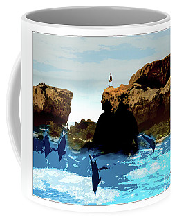 Friends With Dolphins In Colour Coffee Mug