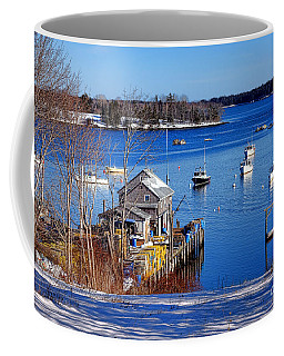 Coffee Mug featuring the photograph Friendship Harbor In Winter by Olivier Le Queinec