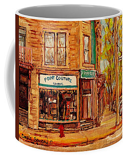 Friperie Pointe Couture Stores And Streets Of Verdun And Psc Canadian Paintings Carole Spandau Art Coffee Mug