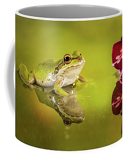 Coffee Mug featuring the photograph Frog And Fuchsia With Reflections by William Lee