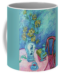 Coffee Mug featuring the painting Frog Fishing Under Chrysanthemums by Xueling Zou