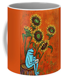 Frog I Padding Amongst Sunflowers Coffee Mug by Xueling Zou