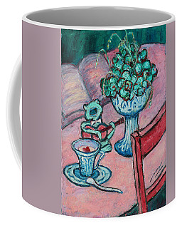 Coffee Mug featuring the painting Frog Singing At Teatime by Xueling Zou