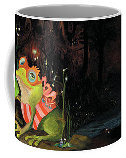 Coffee Mug featuring the painting Frogs At Silver Lake by Donna Hall