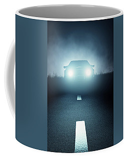 Front Car Lights At Night On Open Road Coffee Mug