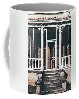 Coffee Mug featuring the photograph Front Door Of Abandoned Building by Kim Hojnacki