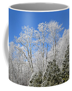 Frosted Trees Blue Sky 1 Coffee Mug