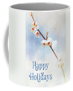 Frosted Witch Hazel Blossoms Holiday Card Coffee Mug