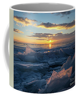 Frozen Sevan Lake And Icicles At Sunset, Armenia Coffee Mug