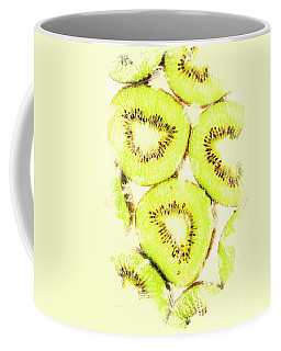 Full Frame Shot Of Fresh Kiwi Slices With Seeds Coffee Mug