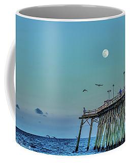 Full Moon At Kure Beach Pier Coffee Mug