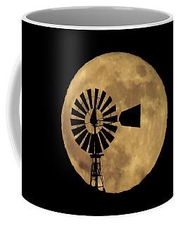 Full Moon Behind Windmill Coffee Mug