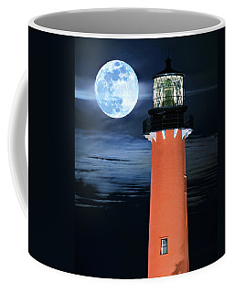Full Moon Closeup Next To Jupiter Lighthouse In Florida Coffee Mug