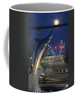 Coffee Mug featuring the photograph Full Moon Over 50 by Robert Banach