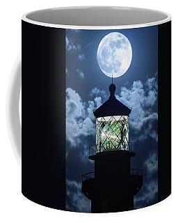 Full Moon Over Hillsboro Lighthouse In Pompano Beach Florida  Coffee Mug by Justin Kelefas
