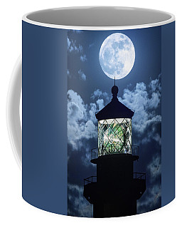 Full Moon Over Hillsboro Lighthouse In Pompano Beach Florida  Coffee Mug