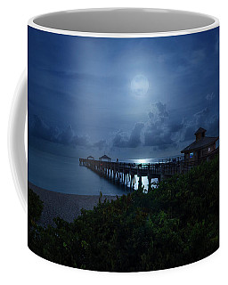 Full Moon Over Juno Beach Pier Coffee Mug