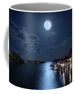 Full Moon Over Jupiter Lighthouse And Inlet In Florida Coffee Mug
