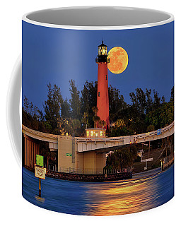 Coffee Mug featuring the photograph Full Moon Over Jupiter Lighthouse, Florida by Justin Kelefas
