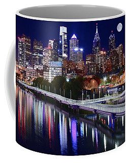 Full Moon Over Philly Coffee Mug by Frozen in Time Fine Art Photography