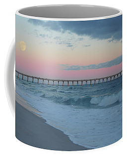 Full Moon Over The Pier Coffee Mug