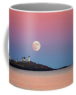 Full Moon Rising At Nubble Light Coffee Mug