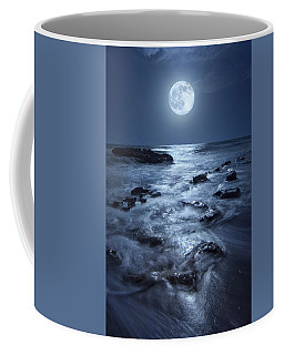 Coffee Mug featuring the photograph Full Moon Rising Over Coral Cove Beach In Jupiter, Florida by Justin Kelefas