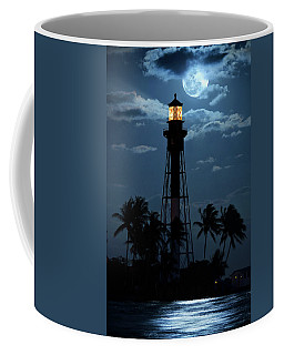 Full Moon Rising Over Hillsboro Lighthouse In Pompano Beach Florida Coffee Mug