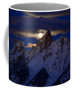 Full Moon Sets Over The Grand Teton Coffee Mug