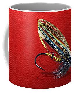 Fully Dressed Salmon Fly On Red Coffee Mug