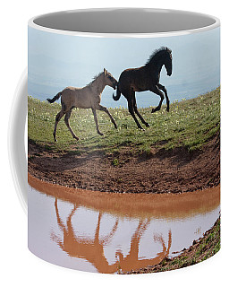 Fun In The Rockies- Wild Horse Foals Coffee Mug