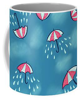 Fun Raining Umbrella Pattern Coffee Mug