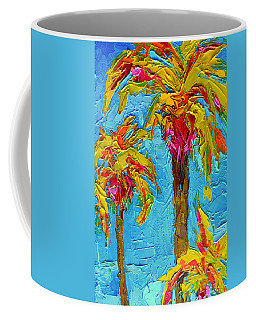 Funky Fun Palm Trees - Modern Impressionist Knife Palette Oil Painting Coffee Mug